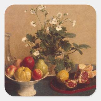 Flores, plato con la fruta y garrafa, 1865 pegatina cuadrada