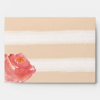 Flores poner crema de la acuarela de las rayas del sobre