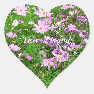 flores preciosas del jardín, 03 pegatinas corazon personalizadas