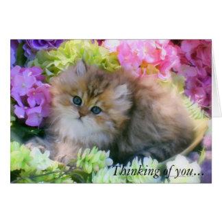 Flores preciosas del pastel de los gatos de los ga tarjetón