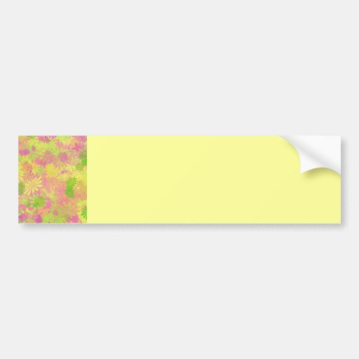Flores psicodélicas enrrolladas retras etiqueta de parachoque