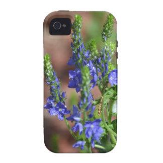 flores Púrpura-azules con la abeja Vibe iPhone 4 Funda