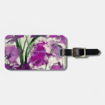 Flores púrpuras abstractas florales modernas en el etiquetas bolsa