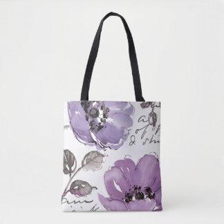 Flores púrpuras bolsa de tela