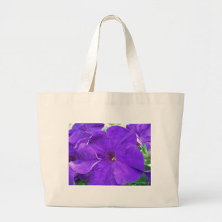 Flores púrpuras bolsa tela grande