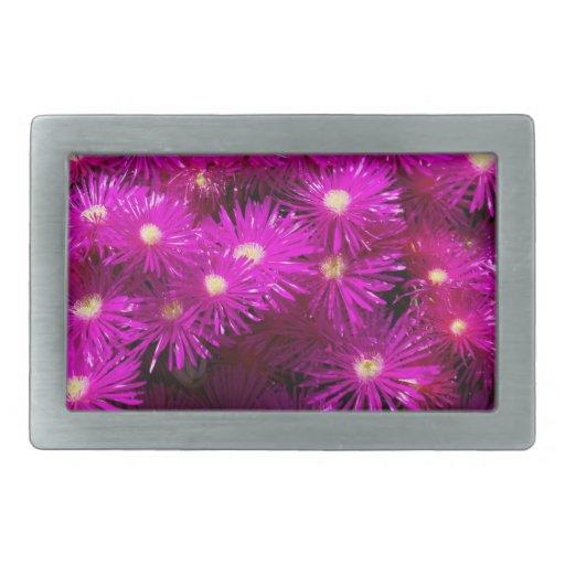 Flores púrpuras bonitas en la plena floración hebilla de cinturón rectangular