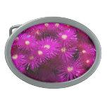 Flores púrpuras bonitas en la plena floración hebillas cinturón ovales
