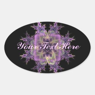 Flores púrpuras bonitas pegatina ovalada