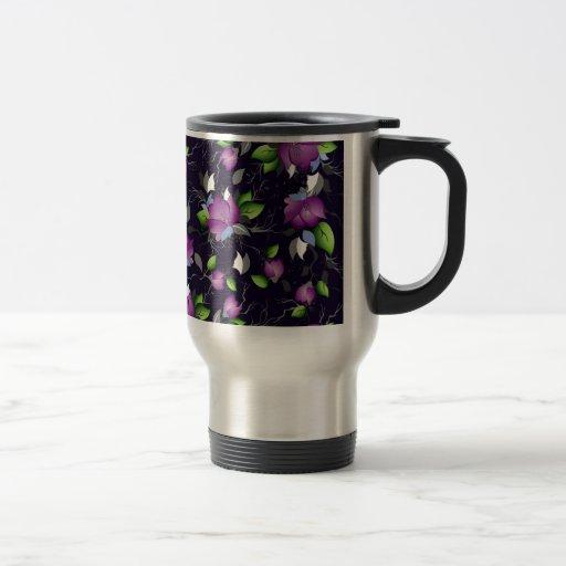 Flores púrpuras bonitas taza de viaje
