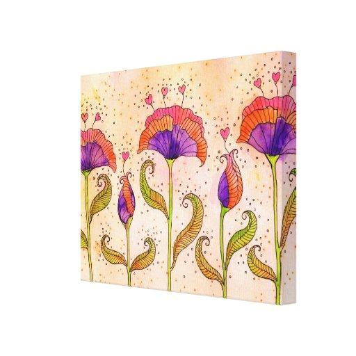 Flores púrpuras caprichosas con los estambres del  impresión de lienzo