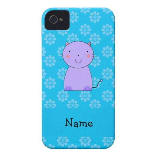 Flores púrpuras conocidas personalizadas del azul iPhone 4 Case-Mate protector