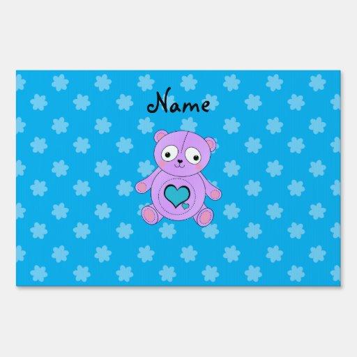 Flores púrpuras conocidas personalizadas del azul  letreros
