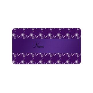 Flores púrpuras conocidas personalizadas etiqueta de dirección