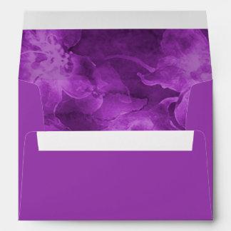 Flores púrpuras de la acuarela sobres