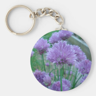 Flores púrpuras de la cebolleta llavero personalizado