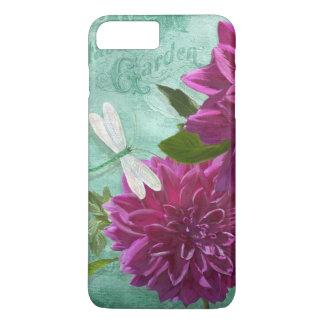 Flores púrpuras de la dalia de la placa de cena de funda iPhone 7 plus