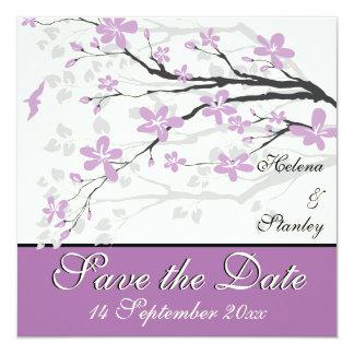 Flores púrpuras de la magnolia que casan reserva anuncios personalizados