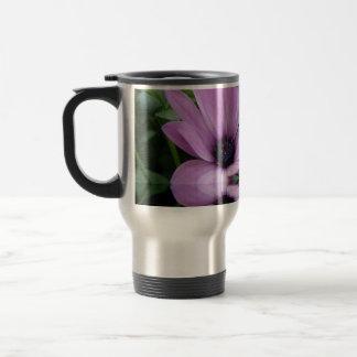 flores púrpuras de la margarita taza de viaje de acero inoxidable