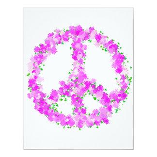 """flores púrpuras de la paz invitación 4.25"""" x 5.5"""""""
