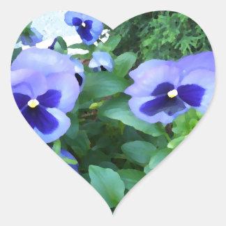 Flores púrpuras de los pensamientos del jardín de pegatina de corazón personalizadas