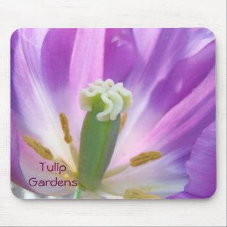 Flores púrpuras de los tulipanes del mousepad del alfombrilla de ratones