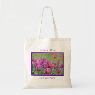 Flores púrpuras de los tulipanes para la plantilla bolsa tela barata