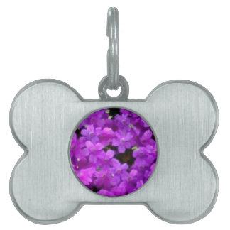 Flores púrpuras de los Wildflowers expresivos Placa Mascota