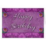 Flores púrpuras de lujo de la tarjeta del feliz cu