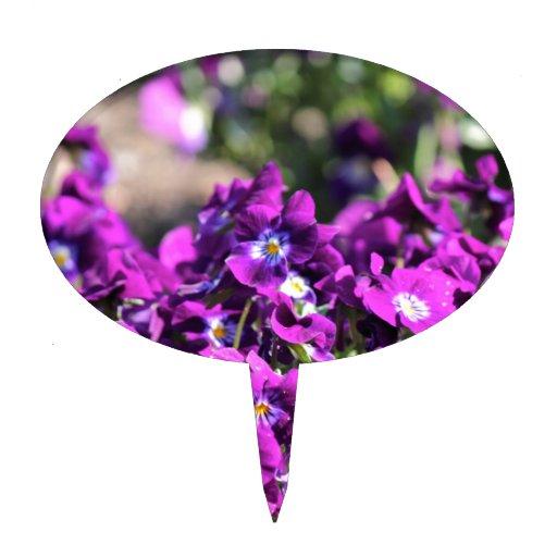 Flores púrpuras decoración para tarta