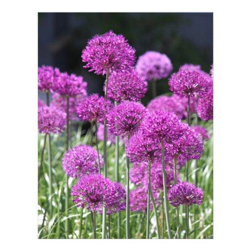 Flores púrpuras del bosque de la primavera del ajo membretes personalizados