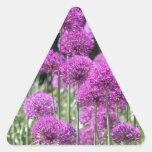 Flores púrpuras del bosque de la primavera del ajo pegatina de triangulo personalizadas
