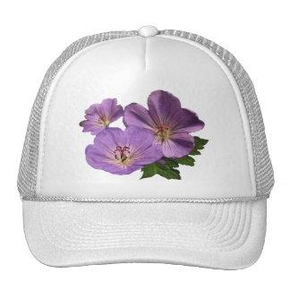 Flores púrpuras del geranio gorras de camionero
