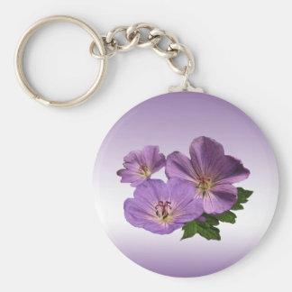 Flores púrpuras del geranio llavero redondo tipo pin