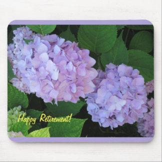 Flores púrpuras del Hydrangea del retiro feliz Mouse Pads
