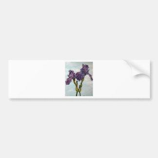 Flores púrpuras del iris barbudo pegatina para auto