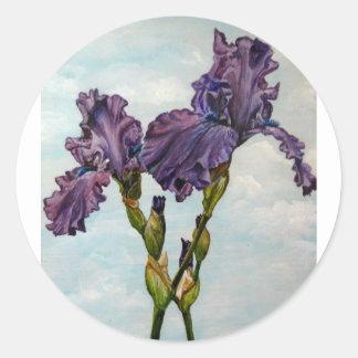 Flores púrpuras del iris barbudo pegatina redonda