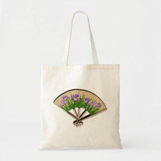 Flores púrpuras del iris en diseño japonés de la bolsa tela barata