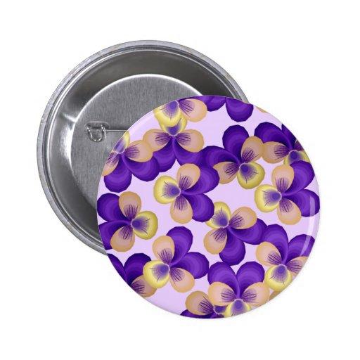 Flores púrpuras delicadas pin redondo de 2 pulgadas