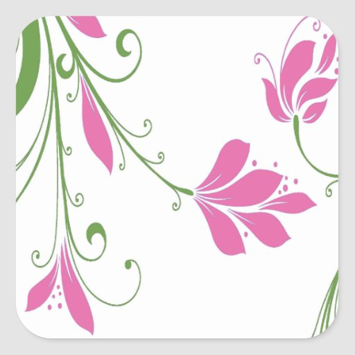 Flores púrpuras en blanco calcomania cuadradas personalizadas