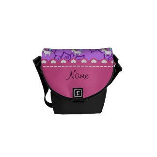 Flores púrpuras en colores pastel del unicornio bolsas de mensajería