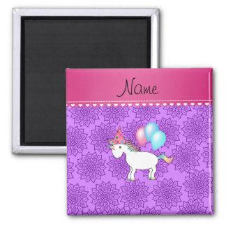 Flores púrpuras en colores pastel del unicornio imanes