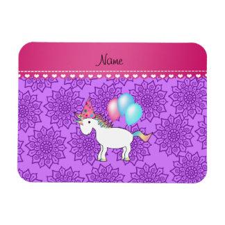 Flores púrpuras en colores pastel del unicornio imán rectangular