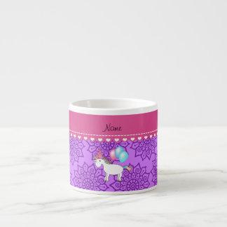 Flores púrpuras en colores pastel del unicornio tazitas espresso