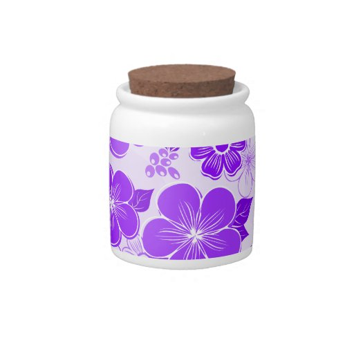 Flores púrpuras femeninas abstractas jarra para caramelo