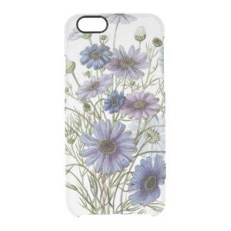 Flores púrpuras funda clear para iPhone 6/6S