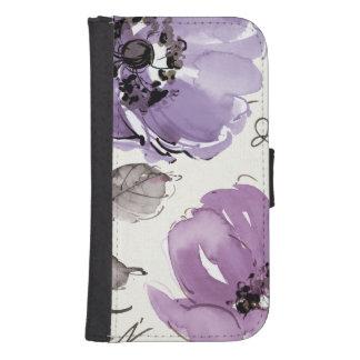 Flores púrpuras funda cartera para teléfono