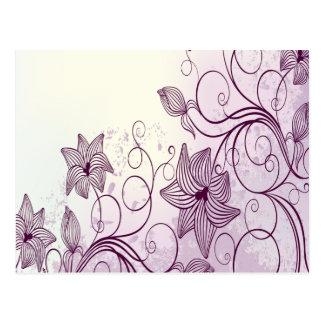 Flores púrpuras hermosas tarjetas postales