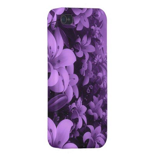flores púrpuras iPhone 4/4S fundas