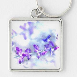 Flores púrpuras llavero cuadrado plateado