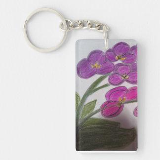 flores púrpuras llavero rectangular acrílico a una cara